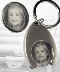 shopping cart trolley chip keyring engraved with your individual